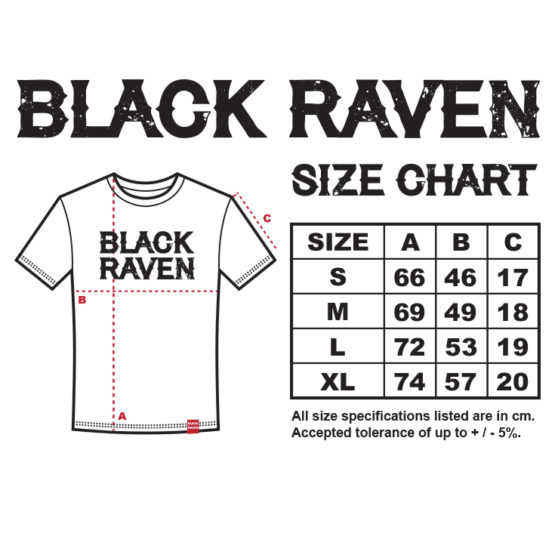 BLACK RAVEN clothing mens t-shirt size chart replay