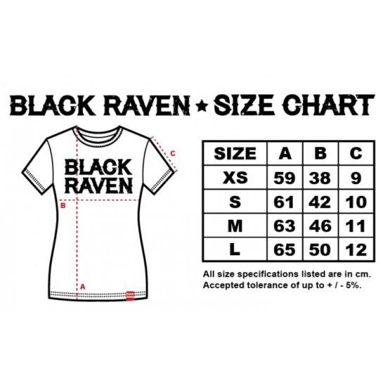 BLACK RAVEN clothing womens t-shirt size chart