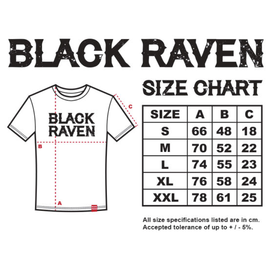 BLACK RAVEN clothing mens t-shirt size chart