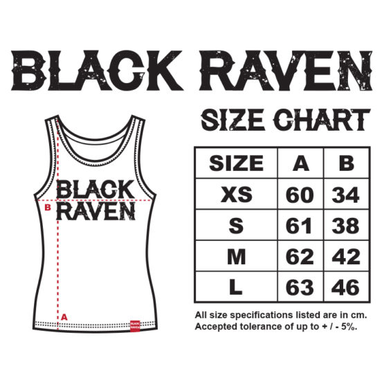 BLACK RAVEN clothing womens tank top size chart
