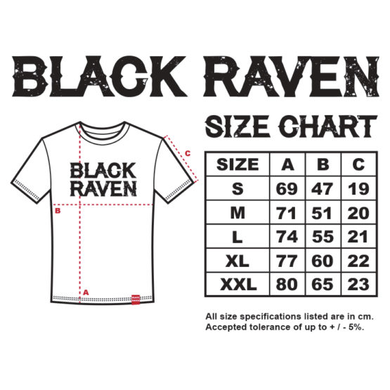 BLACK RAVEN clothing BR-MTS-06 mens t-shirt RAVEN FEATHER size chart