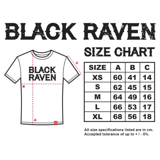 BLACK RAVEN clothing BR-WTS-06 womens t-shirt RAVEN FEATHER size chart